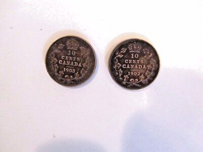 2 CANADA 10 Cent SILVER Coins 1902 & 1903 EDWARD Vll Highly Detailed