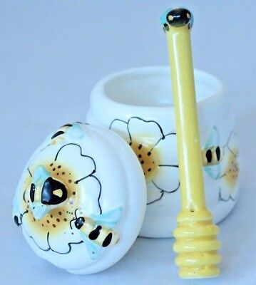 "Vintage Beehive Honey Pot and Stirrer, 5"" Tall"