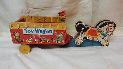 RARE 1950s Fisher Price Toy Wagon with wood drivers head only one on ebay