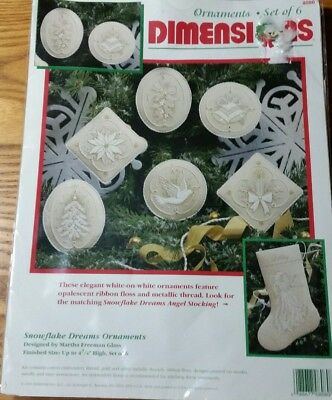95 Dimensions Snowflake Dreams Christmas Ornament Crewel Embroidery Kit Set Of 6