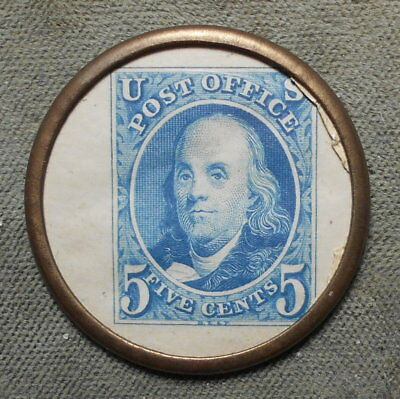 Encased Postage: Cincinnati OH Albert W Ault Loans On Coins Ben Franklin 5c