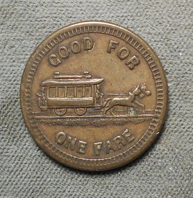 Mankato MN Street Ry Co Good For One Fare Horsecar Circa 1880's MN 510A
