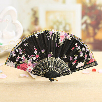 Black Silk Folding Hand Fan Flower Printed Chinese Dance Party Summer Gift HOT