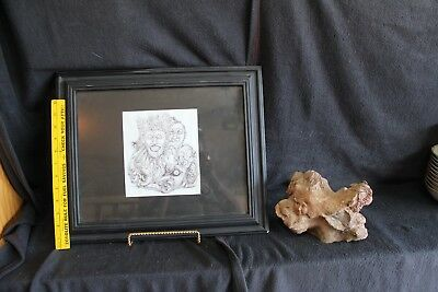 Face Stone Sculpture & ETCHING