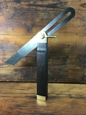"""Stunning Antique Rosewood & Brass 10"""" Carpenters Woodworking Bevel Square"""