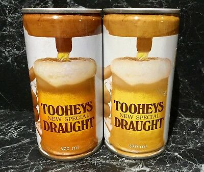 Tooheys New Special Draught. 370ml. C/S Steel. Collector Beer Cans x 2 Different