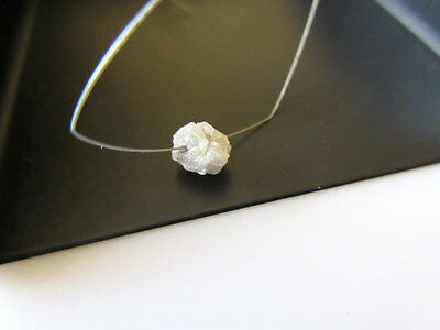 1Pce White Rough Diamond Drilled 1mm Large hole Bead Raw Uncut 5-5.5mm DDS104/1