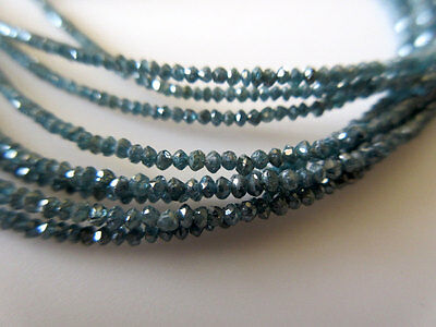 4 Inches Blue Faceted Rondelle Beads Natural Raw Rough Diamond 2mm TT20