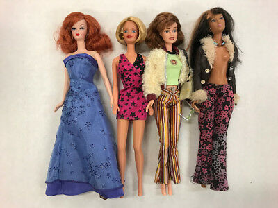 Barbie Mixed Lot 4 Barbies Glamorous Hippie Rockstar Outfit Vintage Modern