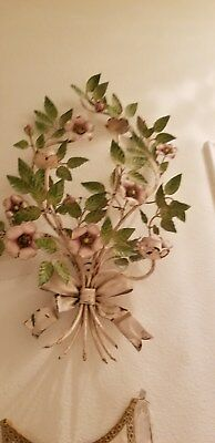 Large Magnolias, Wild Rose Italian Tole original sconce wonderful colors bow
