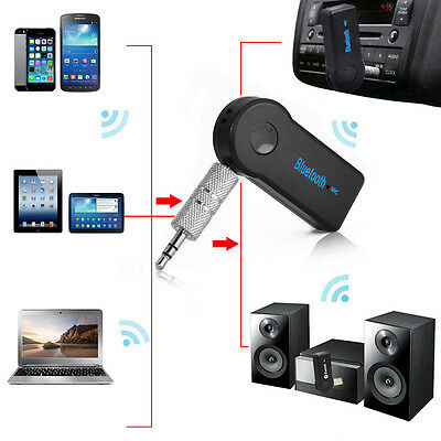 Wireless Bluetooth 3.5mm AUX Audio Stereo Music Home Car Receiver Adapter W/ Mic