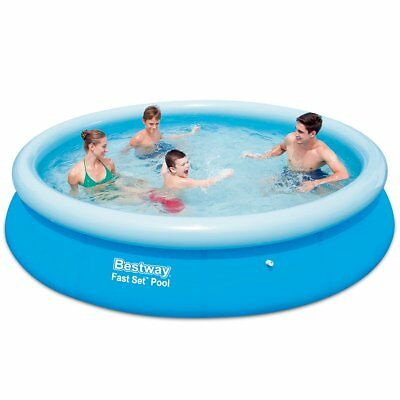 Bestway Fast Set Round Inflatable Swimming Pool 366x76cm Plastic Blue Mesh
