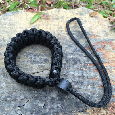 Black Braided 550 Paracord Adjustable Camera Wrist Strap Bracelet 9 inches