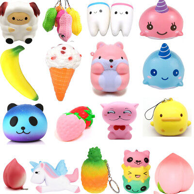Squishy Kawaii Jumbo Animals Fruits Slow Rising Release Stress Fun Toys Lot