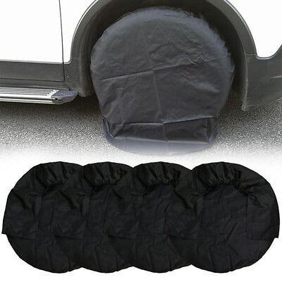 "4pcs/Set 32"" 210D Oxford Wheel Tire Covers for RV Truck Car Camper Trailer Black"