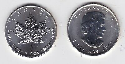 2011 Canada 1 oz 999 Silver Maple Leaf $5 Coin 1oz