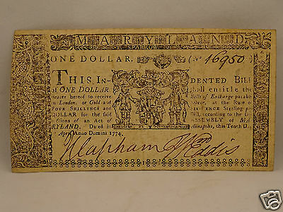 Fine 241 yr old COLONIAL CURRENCY NOTE $1 April 10 1774 - Annapolis, MARYLAND