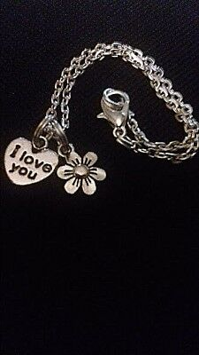 Childs Silver Plated BRACELET Childrens Tibetan Silver petite FLOWER I love you
