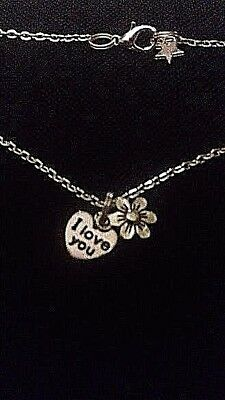 Childs Silver Plated NECKLACE Childrens Tibetan Silver FLOWER I Love You Star