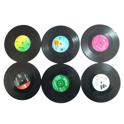 6 PCS Vinyl Coaster Groovy Record Cup Drinks Holder Mat Tableware Placemat R3S4