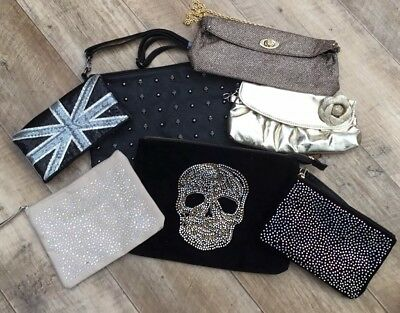 Mixture Of Sparkly, Skull, Gold, Studded Bags NEW Job lot