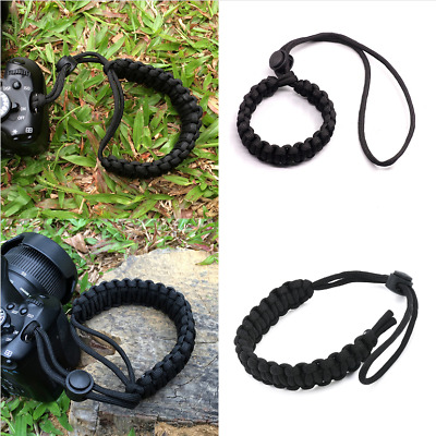 Black Adjustable Camera Wrist Strap Braided Paracord Strong Weave Lanyard DSLR