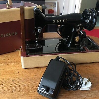 Vintage Antique 1958 99k Singer Electric Sewing Machine With Carry Case & Pedal