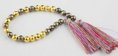 "1 Strand Fine AAA Pyrite & Gold Pyrite Faceted Rondelle 6-7mm Gemstone 7"" Long"