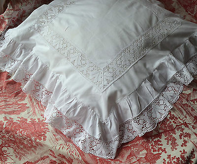 Huge antique French pure cotton and lace pillow case or sham
