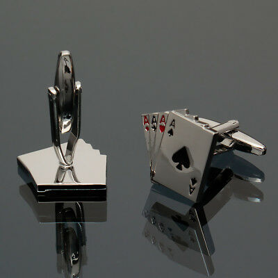 Mens Silver 4A Playing Cards Winers Cuff Links Poker Ace Cufflinks Business Gift