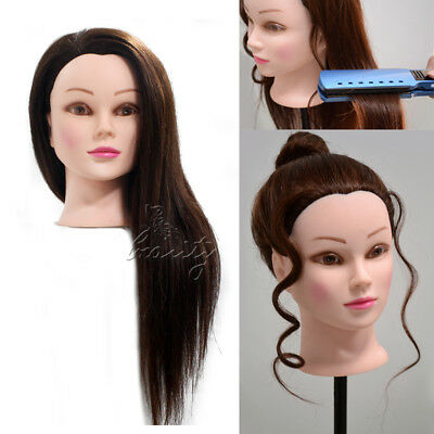 """22"""" 90% Real Human Hair Training Head Hairdressing Mannequin Dummy Model + Clamp"""