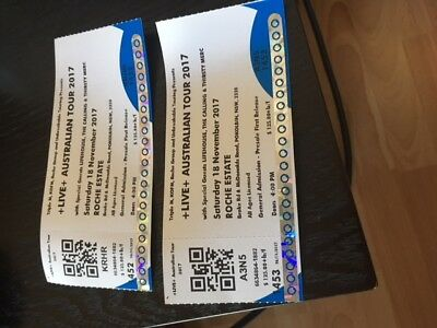 2 X LIVE AT ROCHE ESTATE TICKETS $250 FOR BOTH ( Free Postage )