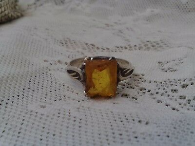 Vintage Imperial Russian 875 Siver Ring Fully Hallmarked Citrine ? Pre 1956