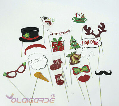 19Pcs Christmas Santa Hat Party Masks Photo Booth Props Mustache On A Stick New