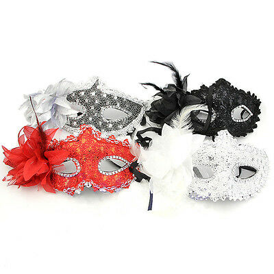 Masquerade Ball Eye Mask Feather - Venetian Party Fancy Dress Carnival Uk 1X