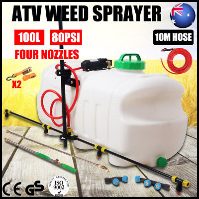 100L ATV Garden Weed Sprayer 12V Pump Driven Spot Boom Chemical Tank 4 Nozzles