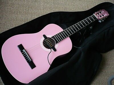 Guitar 3/4 Size Pink Beginners Acoustic Classical Padded Case Pick Up Colln Kt10
