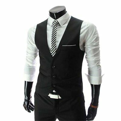Zicac Men's Slim Fit Skinny Formal Business Casual Dress Vest Suit Waistcoat