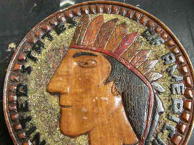 Vintage 1901 native american round wooden plaque, 9 inch diameter, nicely carved