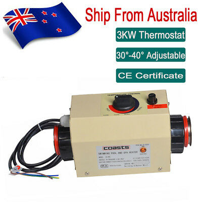 3KW Hot Tub Electric Water Heater For Swimming Pool Bathtub SPA Thermostat AU