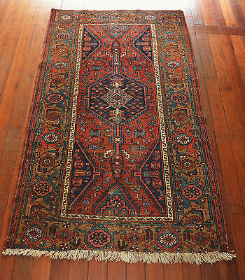 Antique Hand Knotted Hamadan Wool Pile Rug Circa 1920