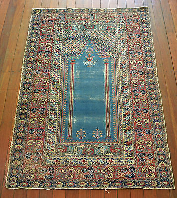 Very Fine Antique Hand Knotted Turkish Bunyan Pile Rug Circa 1900's + Free Book