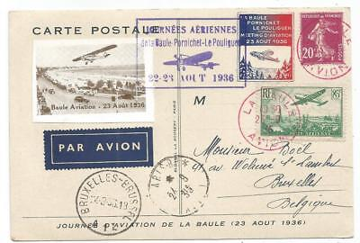 Pa 85C+ Semeuse 20C Lilas Carte Avion La Baule Avion + Vignette Aviation