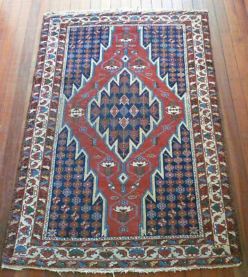 Antique Hand Knotted Mazlaghan Hamadan Wool Pile Rug Circa 1920's