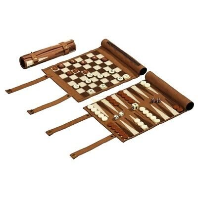 Travel Game - Chess - Backgammon and Womens Set - Rollable