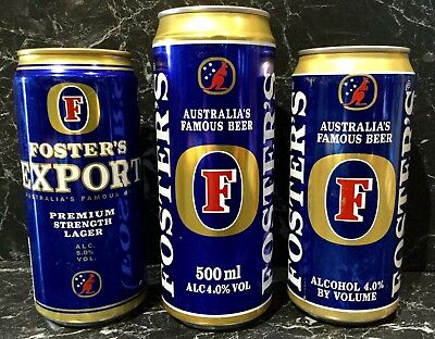 Fosters Lager. Brewed And Canned By Courage In The UK.Beer Cans. x 3