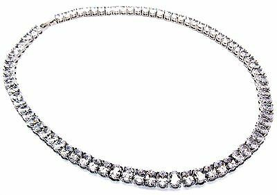 Silver Diamond Oval Cut 87.2ct Full Round Necklace Free Gift Box