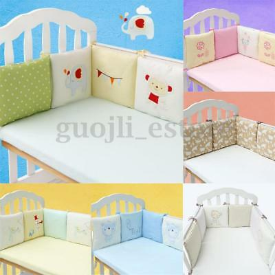 6Pcs Infant Baby Crib Bumper Safety Bed Protector Toddler Nursery Bedding Cot AU