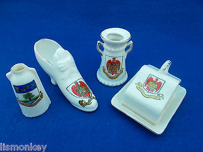Crested China Crested Ware Bedford Crest x4 Bedfordshire Cheese Dish Shoe Churn