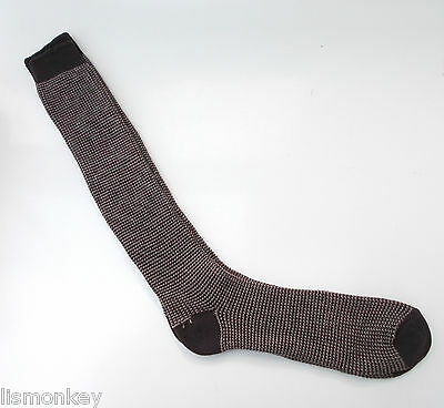 Vintage Mens Thermal Socks 1970s era Patterned Socks Brown Unusued New